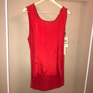 NWT Gibson Latimer Red Fabric Contrast Tank - L